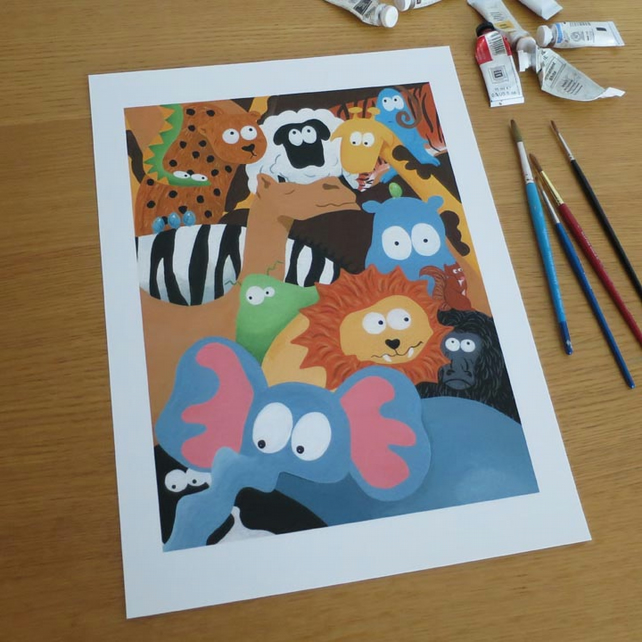 Animals & Aliens Print 13.5 by 9.5 inches
