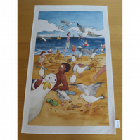 Cheeky Seagulls Tea Towel