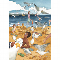 Cheeky Seagulls Card A5