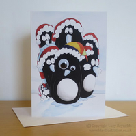 Googley-eyed penguin card A5