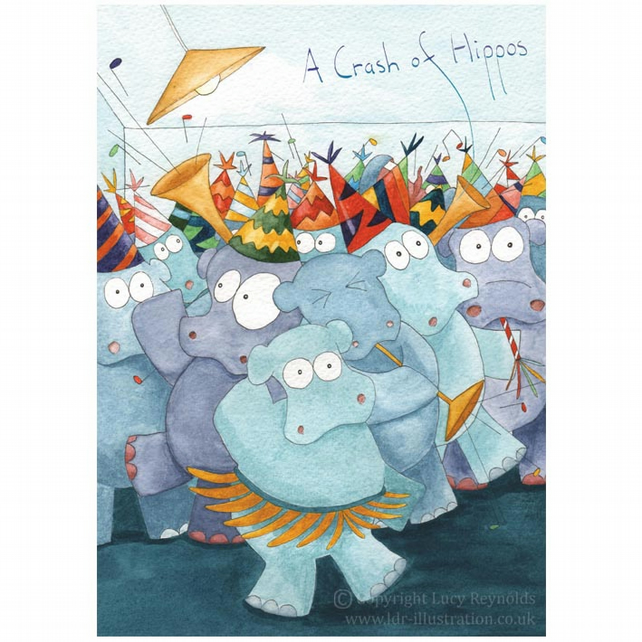 Crash of Hippos Card A5