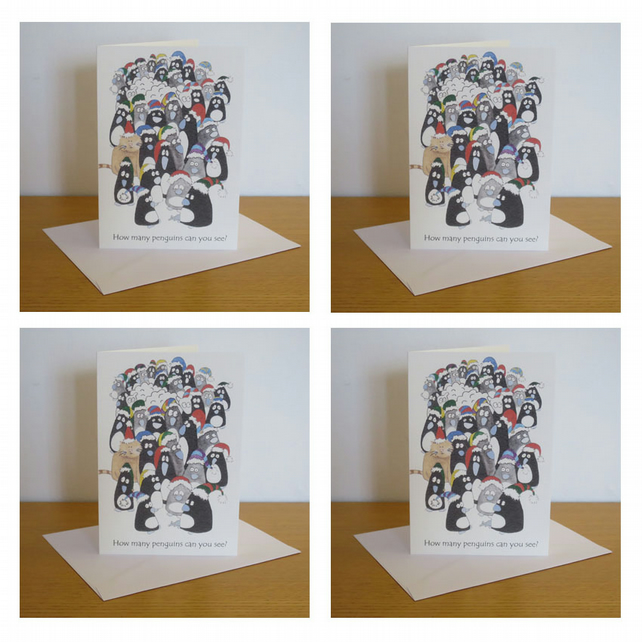Penguins Christmas Card Pack of 4