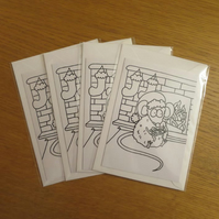 Colour-me-in Mouse Cards
