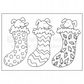 Colour-me-in Dogs In Stockings Card