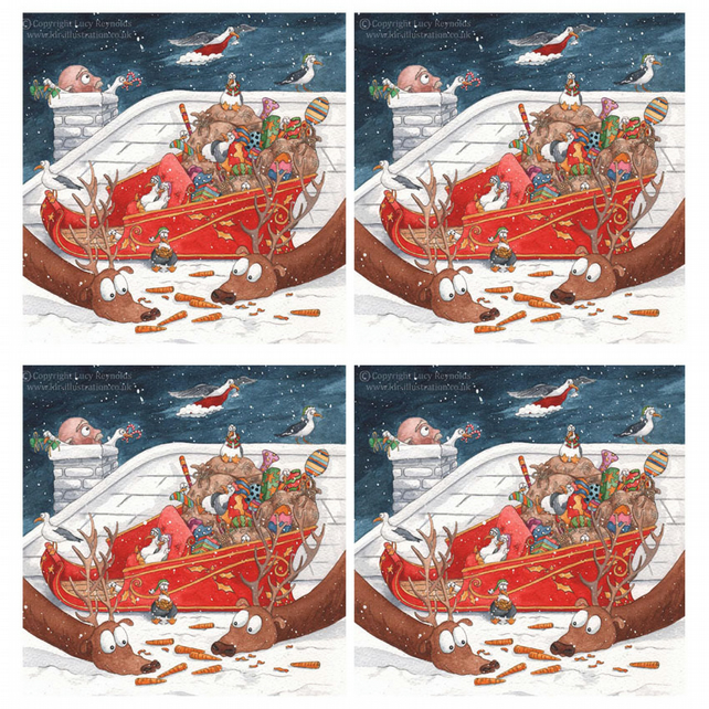 Sneaky Seagulls Christmas Cards - Pack of 4