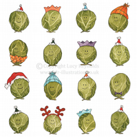 Pack of 4 - Smiley Sprouts Christmas Cards