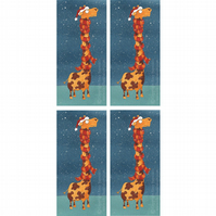 'Giraffe in a Scarf' Christmas Cards - Pack of 4