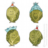 Small Smiley Sprouts Christmas Card (Blue hats)