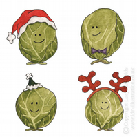 Small Smiley Sprouts Christmas Card (Antlers)