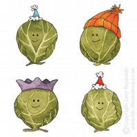 Small Smiley Sprouts Christmas Card (Orange hat)