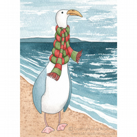 Seagull in a Scarf Card A6