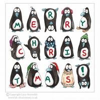 Pack of 4 - Merry Penguins Christmas Cards