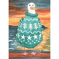 Pack of 4 'Seagull Sunset' A6 Christmas Cards