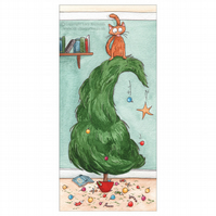 Pack of 4 'Cat Versus Christmas Tree' Cards