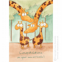 Baby Twins Giraffe Card