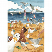 Sneaky Seagulls Card A5