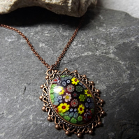 Copper Millefiori Cabochon Necklace (Style 4)