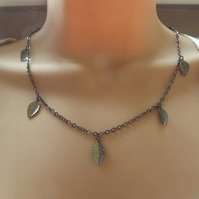 Gun Metal Leaf Necklace