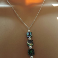 Abalone 3 Square Pendant Necklace in Silver Plate