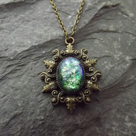 Green Opal Vintage Glass Cabochon Pendant in Brass Cameo Leaf Setting (style 3)