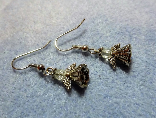 Silver Plated Angle Drop Earrings.  Christmas Earrings.  Fairy Earrings.