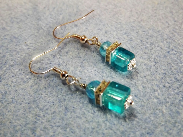 Turquoise Blue Cube and Diamante Silver Plate Drop Earrings