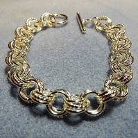 Textured Chainmaille Bracelet Silver Plated. Hoop and link Bracelet