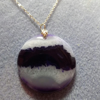 Purple and White Agate Circle gemstone Pendant (21)