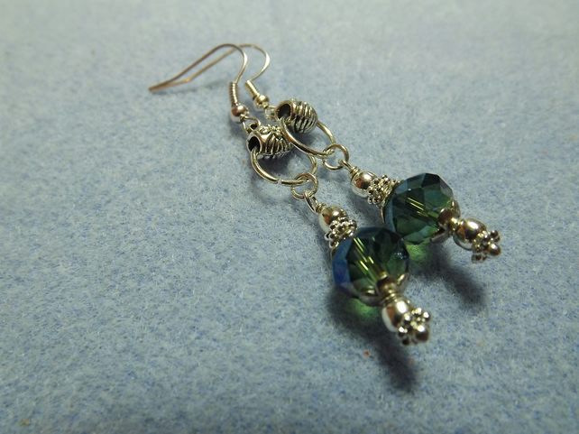 Long Rainbow Green Drop Crystal Earrings