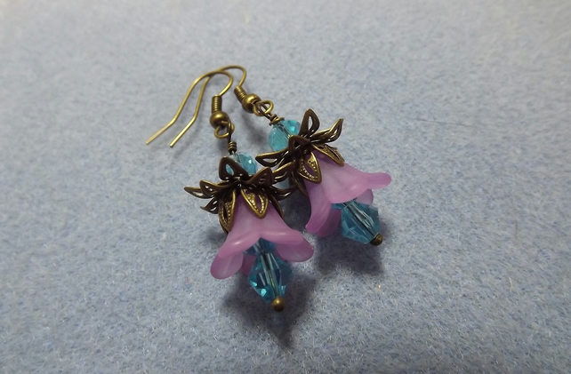 Wild Flower Lucite Drop Earrings in Lilac and Turquiose Blue