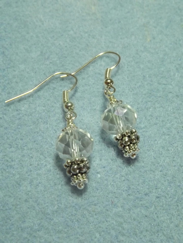Crystal Clear Silver Plate Drop Earrings
