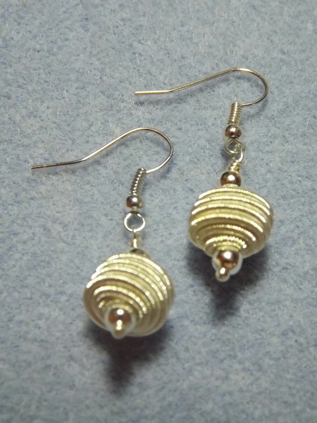 Silver Plate Spiraled Wire Drop Earrings