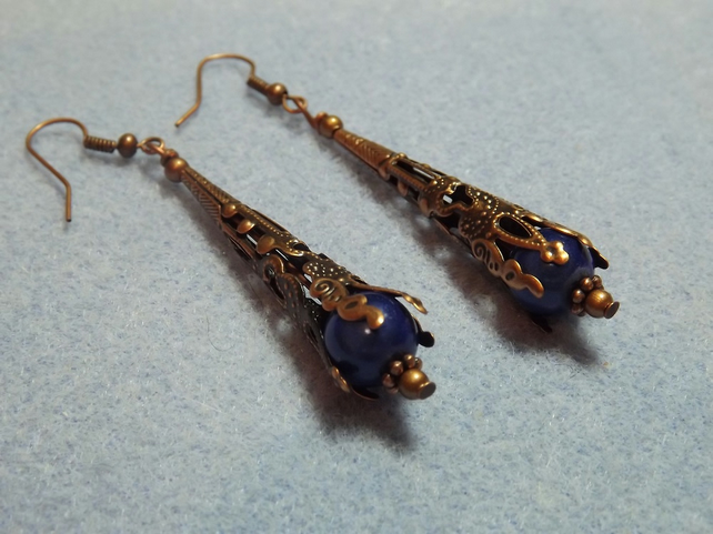 Red Copper and Royal Blue Miracle Bead Dangle Earrings