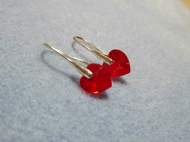 Swarovski 10mm Heart Earrings Red
