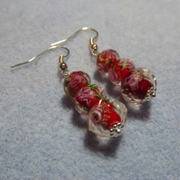 Red Lampwork Silver Plated Graduated Bead Earrings