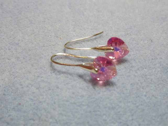 Swarovski 10mm Heart Earrings Pale Pink