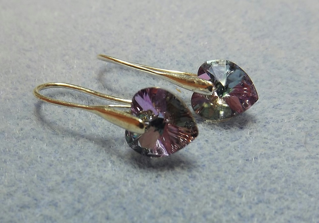 Swarovski Crystal 10mm Heart Drop Earrings. Light Purple Pink Silver Hearts