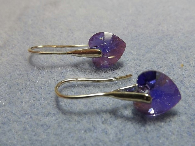 Swarovski Crystal 10mm Drop Heart Earrings.  Purple Heart Silver Earrings