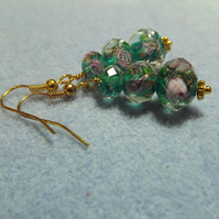 Green Lampwork Graduated Flower Drop Earrings.  Silver Plate.