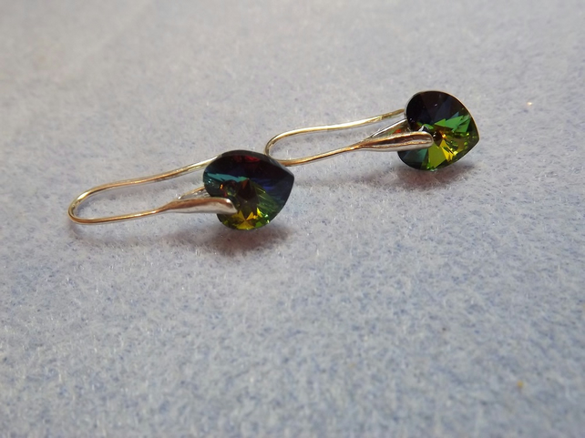 Swarovski Heart Earrings. Green Rainbow Silver Heart Earrings
