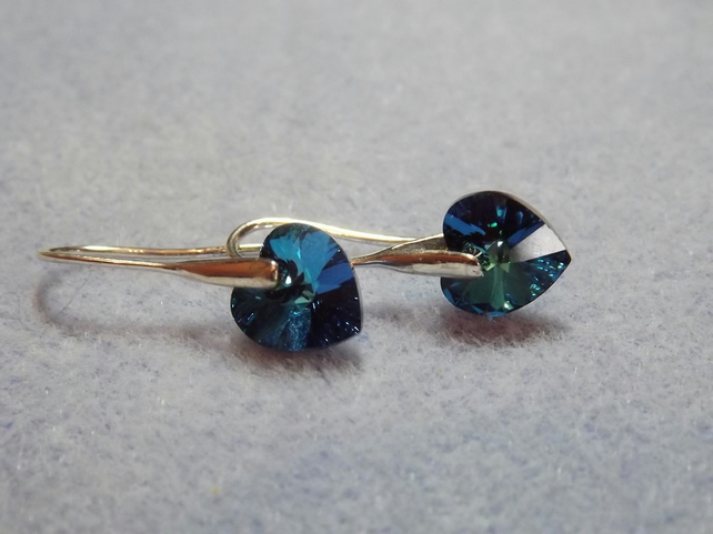 Swarovski 10mm Drop Heart Earrings. Blue Silver Heart Earrings