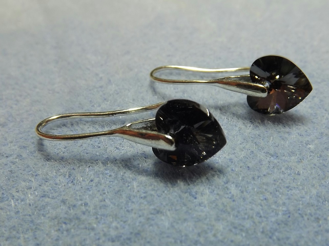 Swarovski Crystal 10mm Drop  Heart Earrings.  Black Heart Silver Earrings.