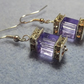 Purple Cube Beaded Earring.  Diamante and Purple Cube Bead Earrings SIlver Plate