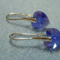 Swarovski 10mm Heart Drop Earrings Sapphire Blue Purple Heart Earrings Silver
