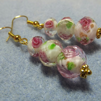 White Lampwork Gold Plated Graduated Bead Earrings