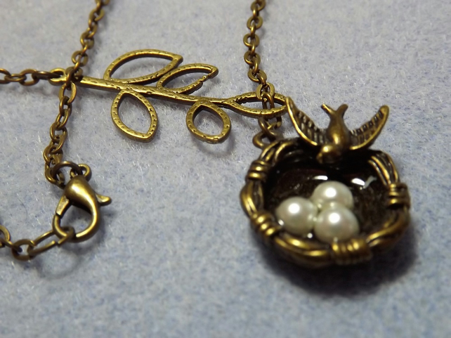 Nesting Dove with Eggs Brass Charm Necklace (33)