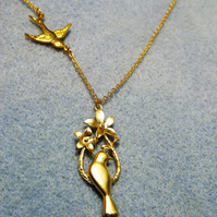 Mother and Baby Dove Charm Necklace in 14K Matt Gold Plate (36np)