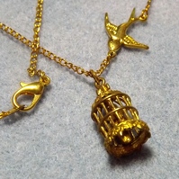 Dove Cage Gold Plate Charm Necklace(12)
