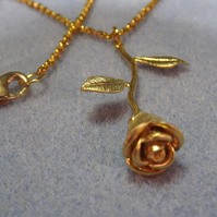 3D Rose Charm Necklace in Gold Plate (Style NP39)