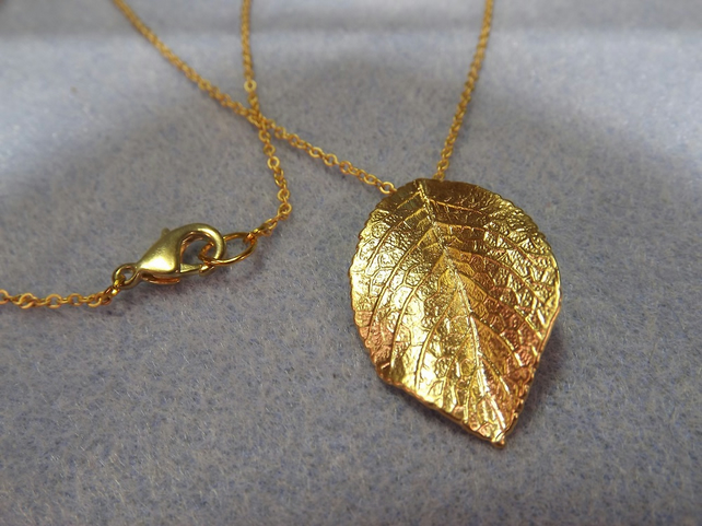 Rose Leaf.  Gold Plated Rose Leaf Charm Necklace (Style 42)